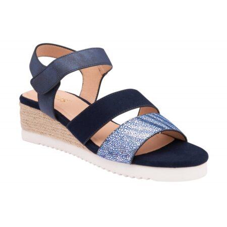 Lotus Ashlyn Navy Wedge Sandals