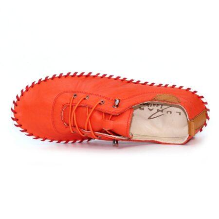 Lunar St Ives Orange Leather Plimsolls