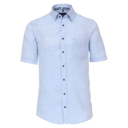 Casa Moda Short Sleeve Blue Linen Shirt