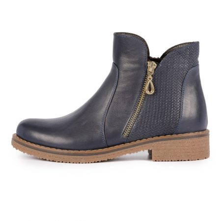 Lunar Hailey Navy Leather Ankle Boots