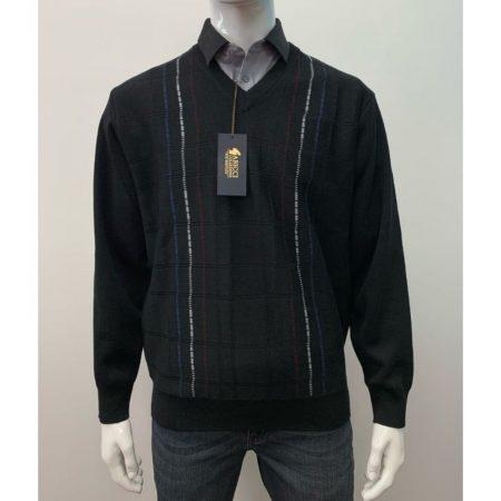 Gabicci Black Patterned Wool Mix Jumper