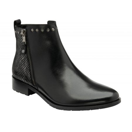 Lotus Moire Black Leather Ankle Boots