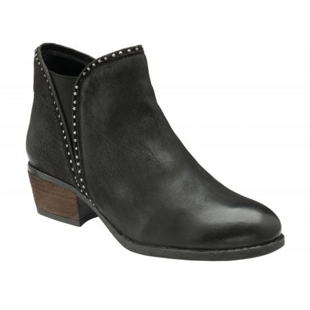 Lotus Bernice Black Leather Ankle Boots