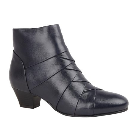 Lotus Tara Navy Leather Ankle Boots