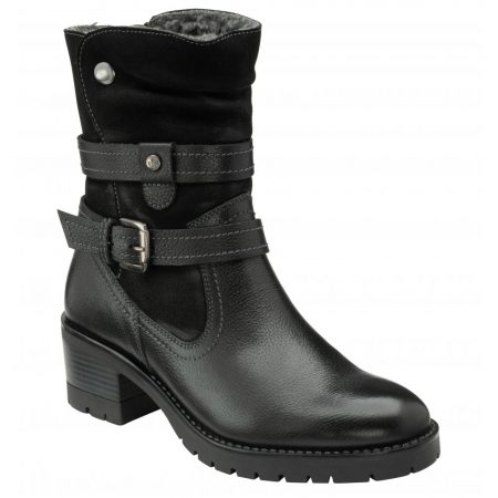 Lotus Salsa Black Leather Long Ankle Boots