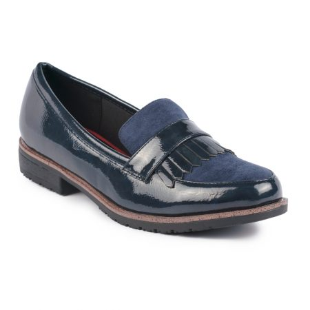 Lunar Gasp Navy Patent Loafers